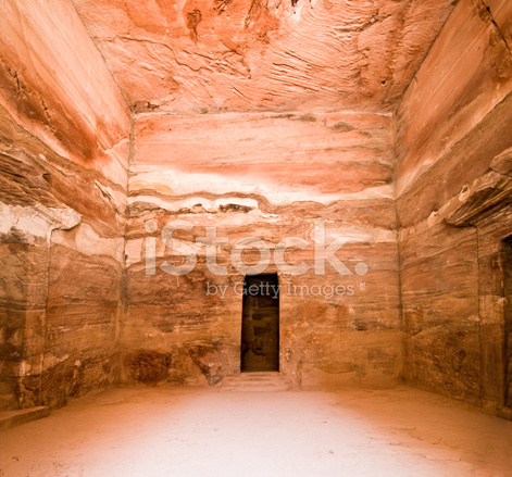 Treasury Temple Inside Detail In Petra Stock Photos