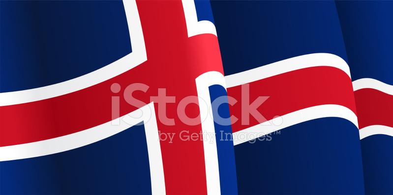 挥舞冰岛国旗背景.矢量图