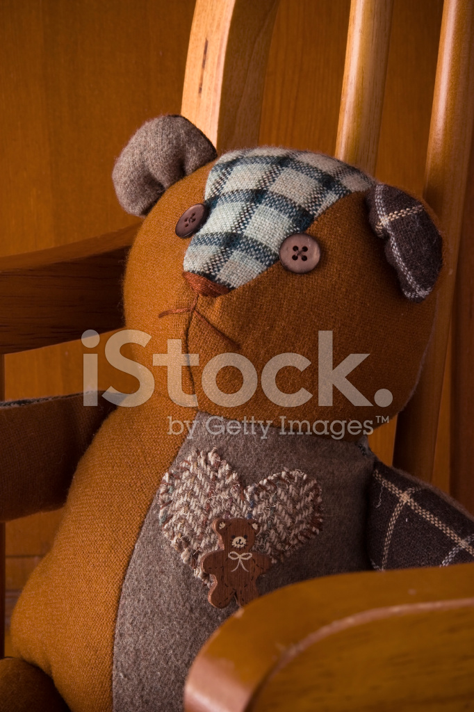 Teddy Bear IN Rocking Chair Stock Photos