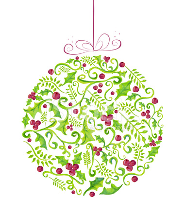 Holly Christmas Watercolor Bauble Greeting Card Stock