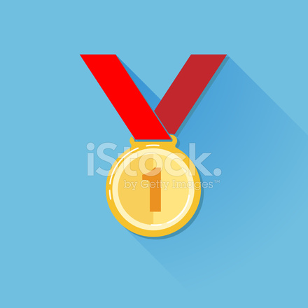 Vintage Illustration of A Golden Medal IN Flat Style With