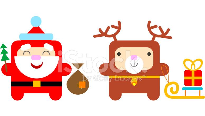 Dibujos Animados Santa Claus Y Reno Stock Vector