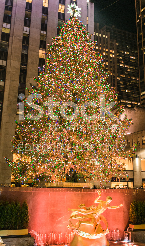 christmas tree with decorations in new york city