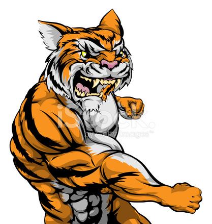 Tiger Charakter Kämpfen Stock Vector Freeimagescom