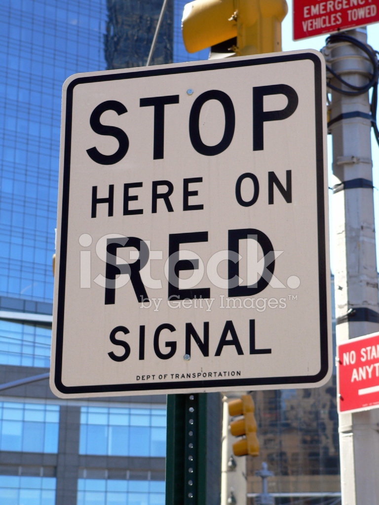 Stop Here On Red Signal Sign Stock Photos Freeimages Com