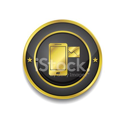 Slimme Telefoon De Knoop Van Het Pictogram Van De Gouden Vector