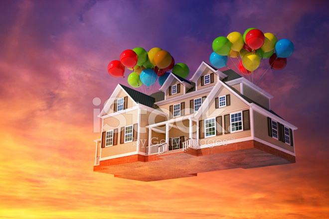 House flying in the sky with balloons stock photos for Flying haus