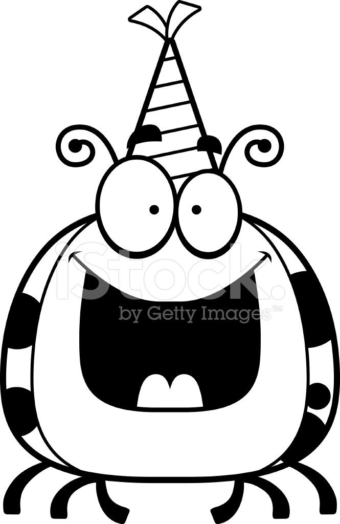 Birthday Card Party Cartoon Ladybug