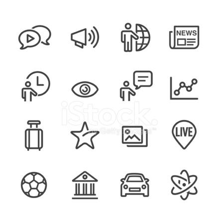 News Category Icons Line Series Stock Vector Freeimagescom