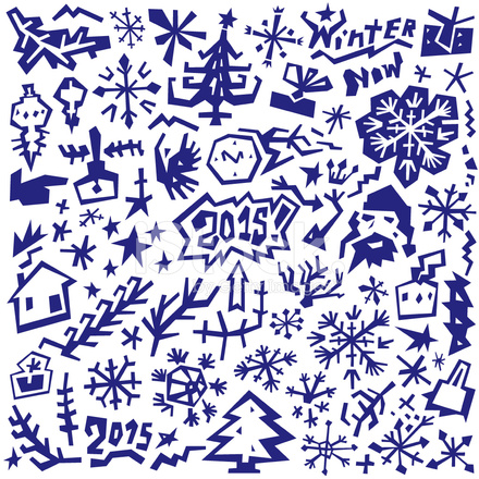 Winter Christmas Symbols Doodles Set Stock Vector Freeimages