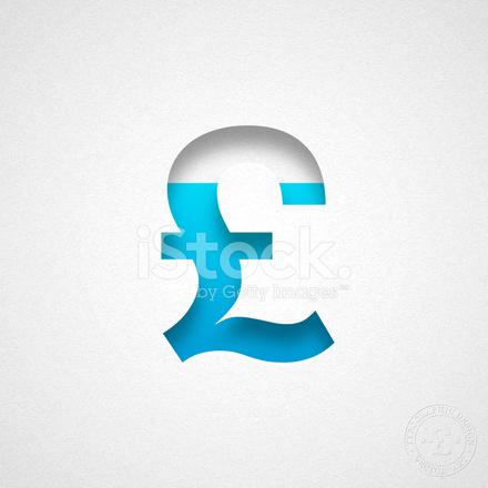 Pond Sterling Symbool Blauwe Symbool Op Aquarel Papier Stock