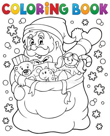 Kitap Içinde 4 Kar Noel Baba Boyama Stock Vector Freeimagescom