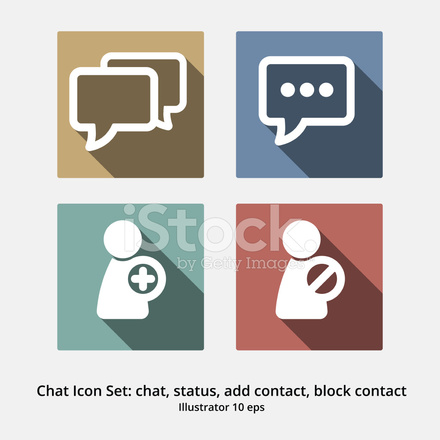 Basic Chat Icon Set Chat Status Add Contact Block Contact Stock Vector