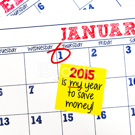 new years resolution to save money in 2015 stock photos
