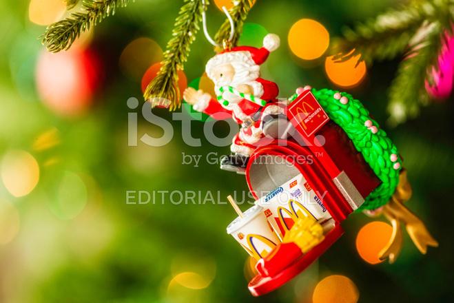 Mcdonalds Christmas Ornament.Mcdonald S Collectible Christmas Ornament On Christmas Tree Stock