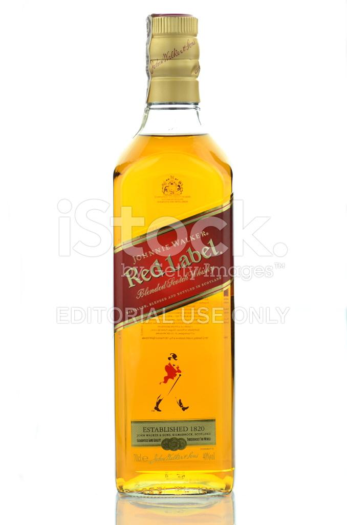 Johnnie Walker Red Label Blended Whisky Isolated On White Backgr