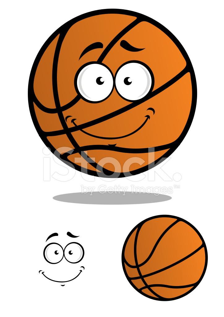 sorridente personagem de desenho animado de bola de basquete stock