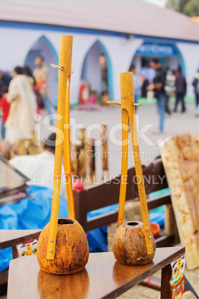 Handmade Monochord Indian Handicrafts Fair At Kolkata Stock Photos