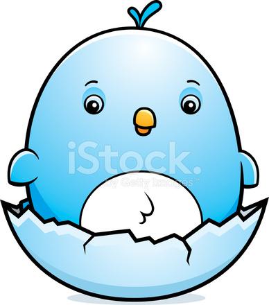 ovo de pássaro azul bebê dos desenhos animados stock vector