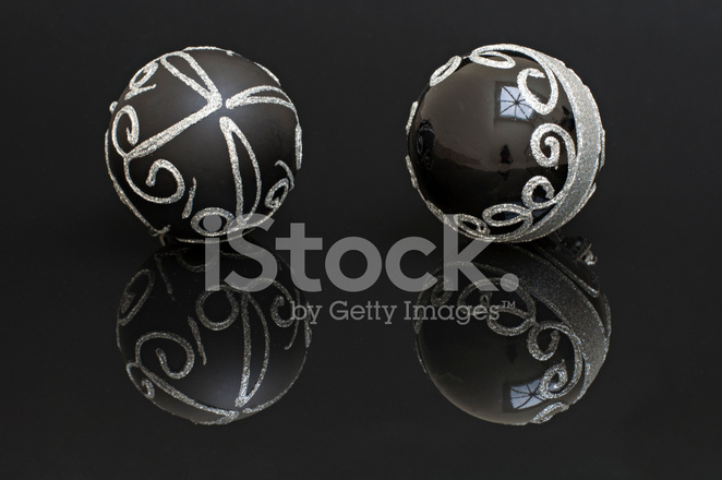 Black Christmas Balls.Black Christmas Balls Isolated Forms With Silver On A Black Back