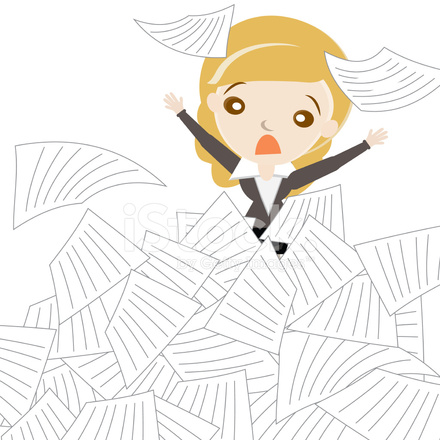 cartoon business woman sinking in overload of paper stock