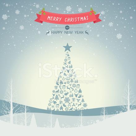Frohe Weihnachten Landschaft UND Ein Weihnachtsbaum MIT Schneeflocke ...
