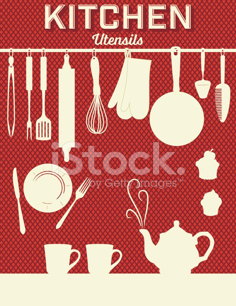 Retro Kitchen Gadgets Background Red
