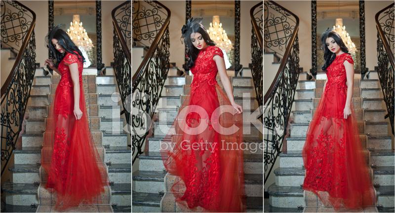 b7207e58368ba Sinnlich Elegante Junge Frau IN Roten Langen Kleid Innen Stockfotos ...