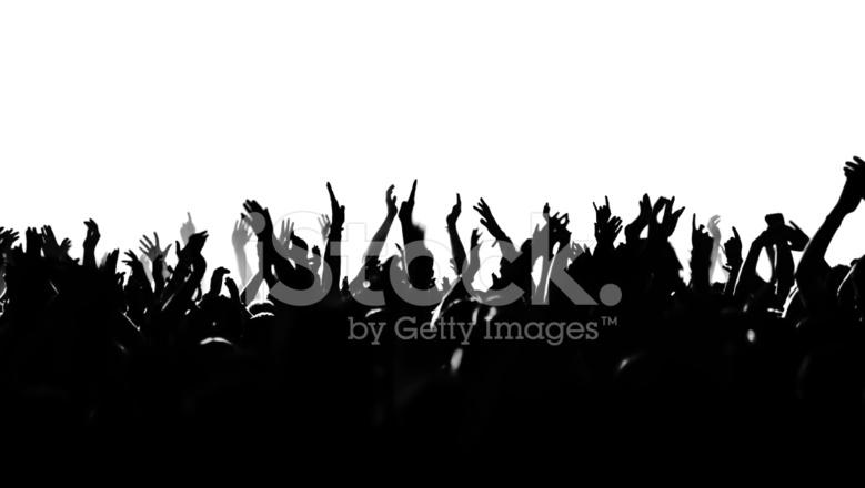 Multitud De Gente Silueta: Silueta Multitud Vitoreaba Fotografías De Stock