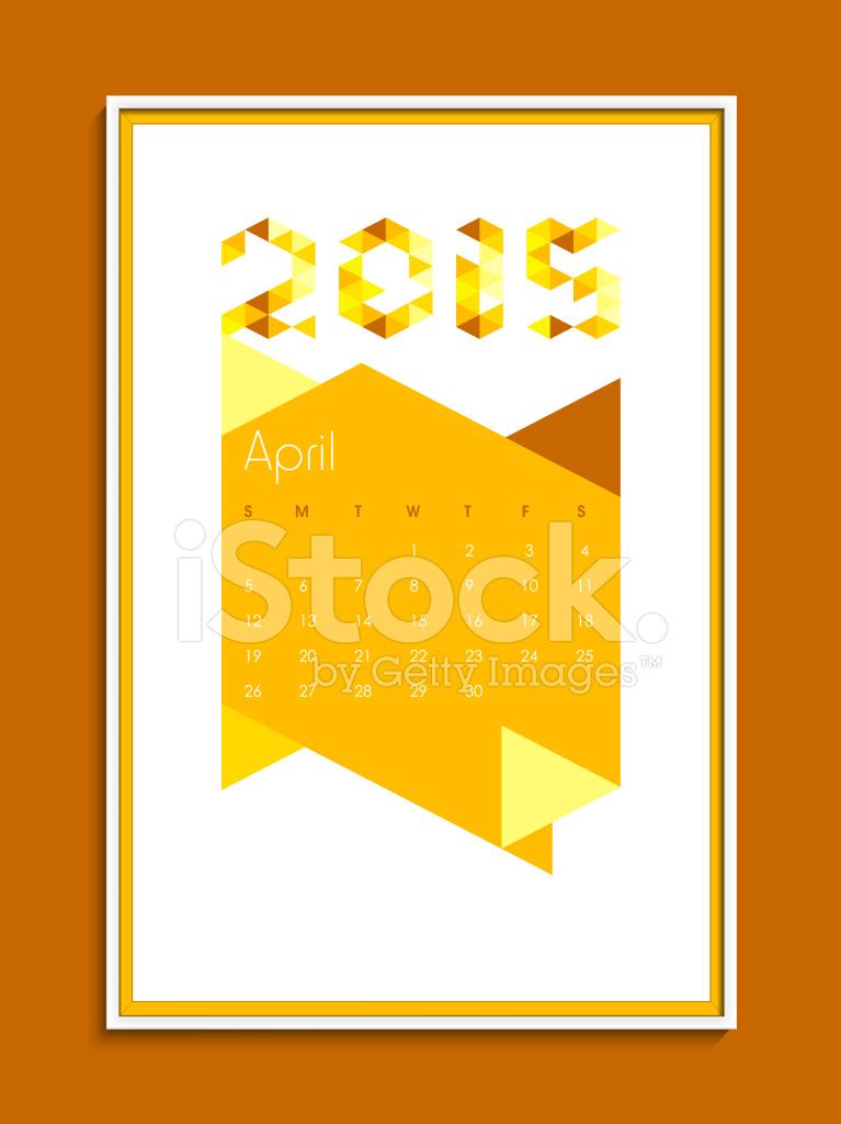 Calendario Anno 2015 Mensile.Calendario Mensile Di Aprile Per Il Nuovo Anno Stock Vector