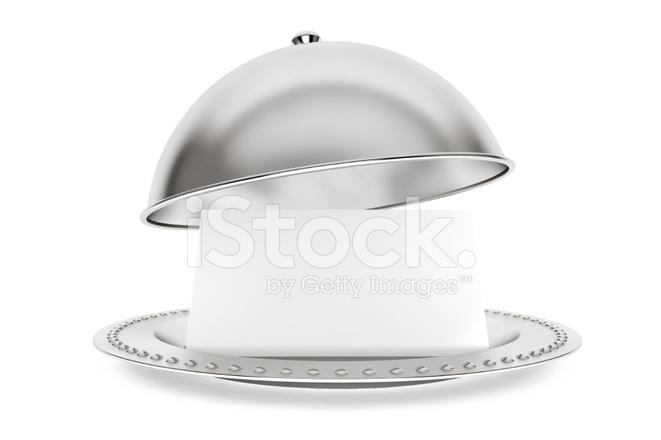 premium stock photo of silber restaurant cloche mit papier vorlage - Bastelpapier Muster