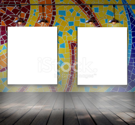 Blank Frame on Mosaic Tile Wall With Ceiling Lamp Stock Photos ...