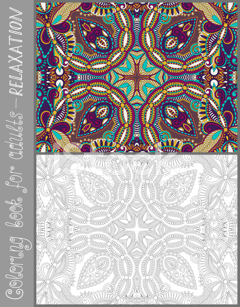 Yetişkinler Için çiçek Desenli Tasarım Kitabı Sayfa Boyama Stock