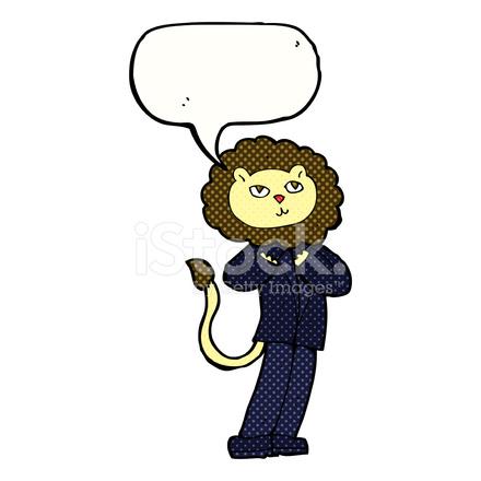 Uomo d affari leone cartone animato con nuvoletta stock vector