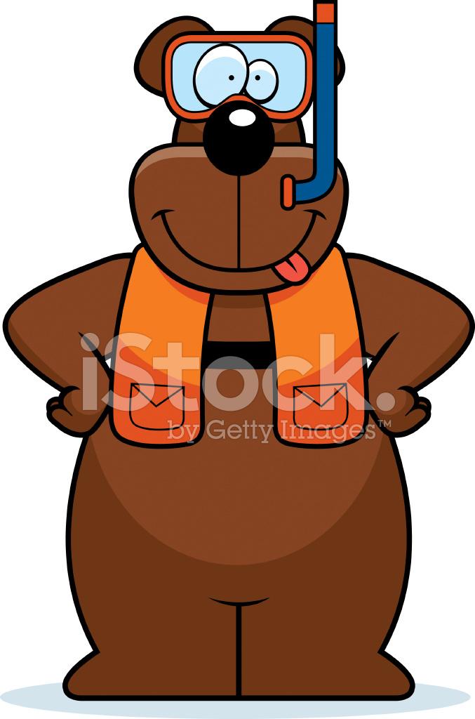 Desenhos Animados Urso Snorkel Stock Vector Freeimages Com