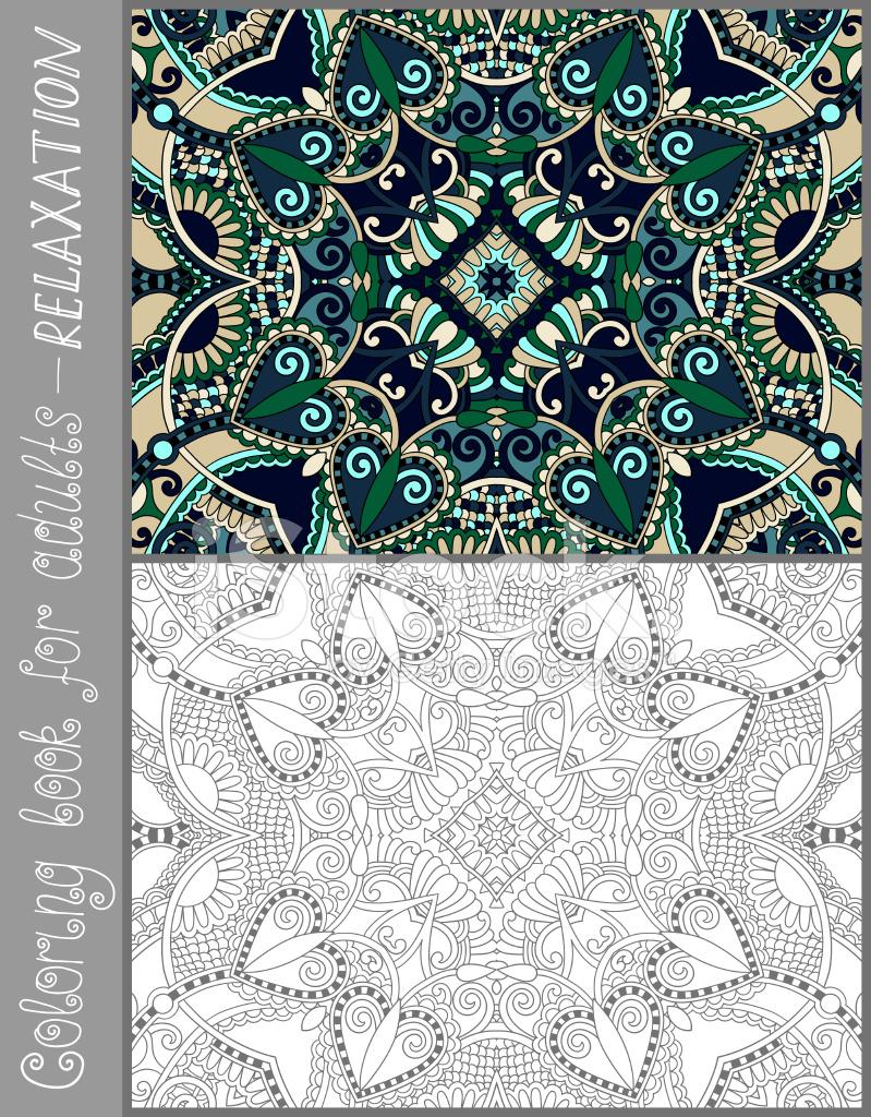 Libro Para Colorear Única Página Para Adultos Diseño DE LA Flor ...