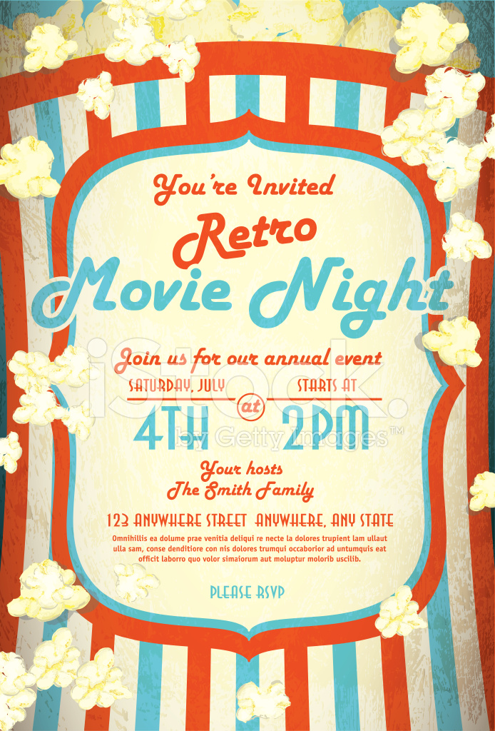 Retro Movie Night Invitation Design Template Stock Vector ...