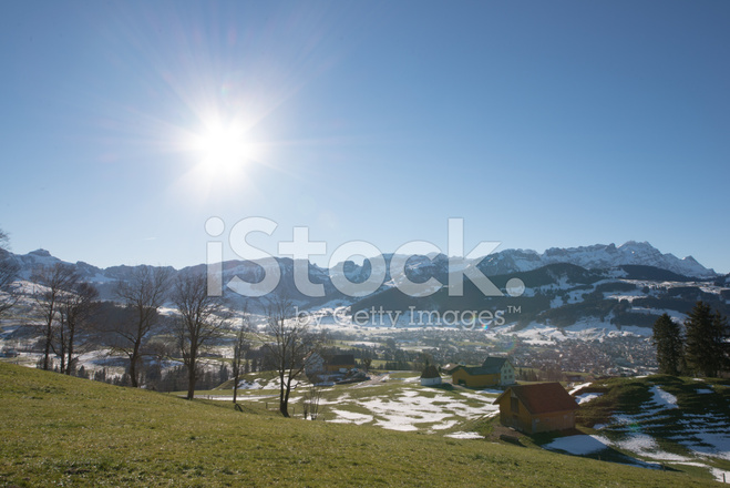 Switzerland Appenzell Winter Against The Sun Stock Photos