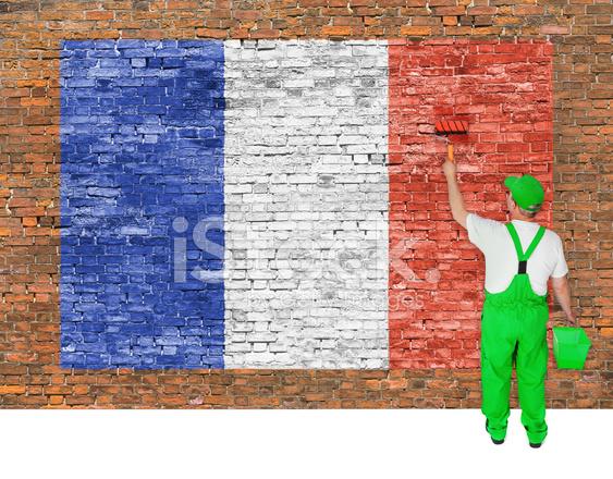 Fransa Bayrağı Ile Tuğla Duvar Ev Boyacısı Kapsar Stok Fotoğrafları