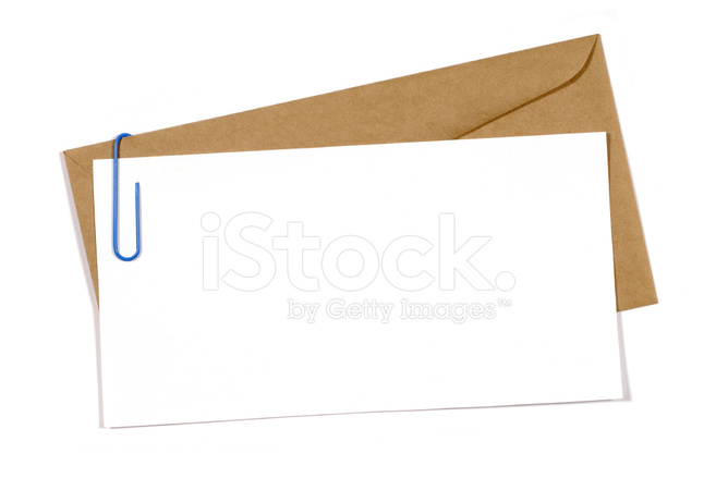 Blank Message Or Invitation Card With Brown Envelope Stock