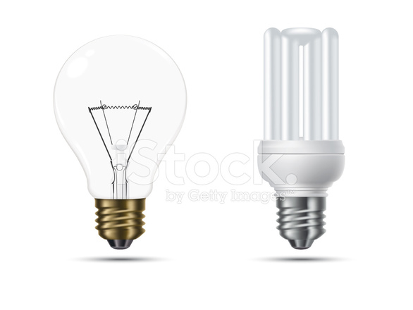Lampade A Globo A Risparmio Energetico : Convenzionali e lampadine a risparmio energetico stock vector