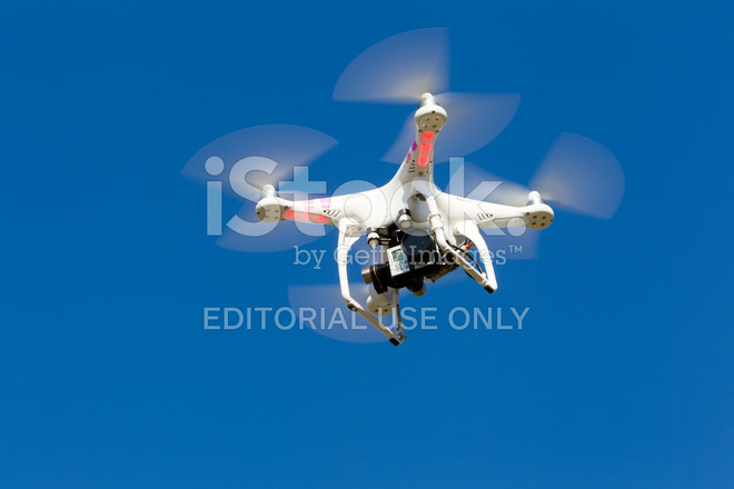 Dji Phantom Drone In Flight With A Mounted Gopro Hero3 Stock Photos