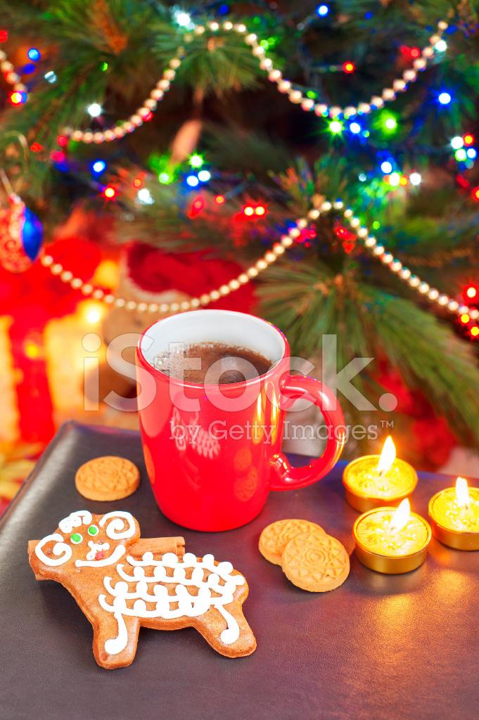Schafe Prägen Lebkuchen MIT Tasse Kaffee Auf Weihnachten Tergru ...