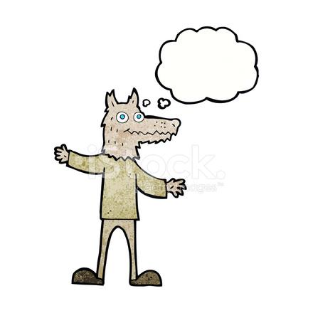 Uomo lupo di cartone animato con bolla di pensiero stock vector