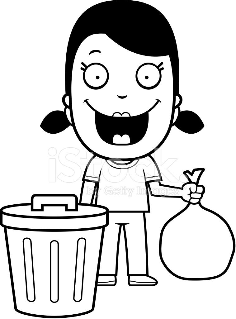 cartoon girl trash stock vector