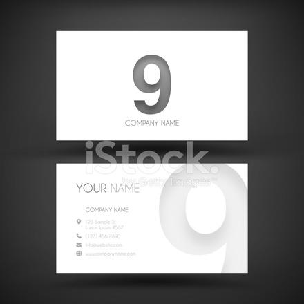 Visitenkarte Vorlage Mit Platz Neun 9 Stock Vector