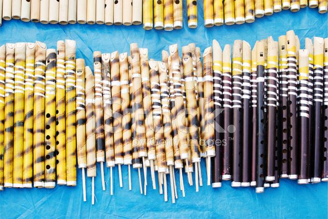 Flutes Made Of Bamboo Indian Handicrafts Fair At Kolkata Stock