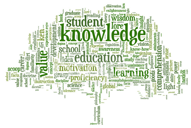Word Cloud Containing Depicting Tree Of Knowledge Stock