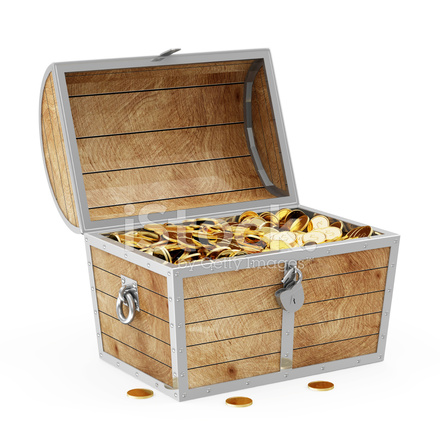 treasure chest with golden coins isolated on white background stock