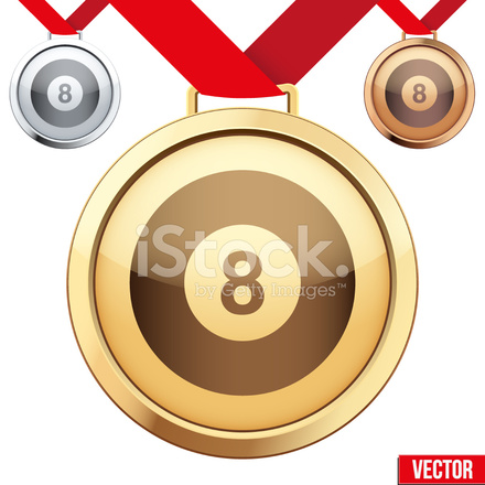 Gold Medal With The Symbol Of A Billiard Inside Stock Vector